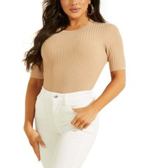 guess ribbed short-sleeve sweater