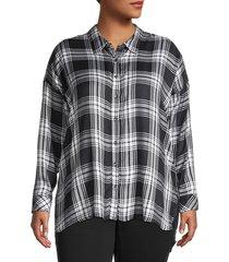 workshop women's plus plaid shirt - navy combo - size 1x (14-16)