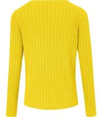 trui van 100% katoen met v-hals en lange mouwen van looxent geel