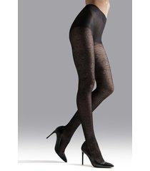 natori fan sheer tights, women's, black, size l natori