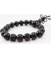 "long tibetan 17 12mm black sandalwood carved buddha prayer bead mala bracelet 7"""