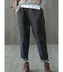harem jeans da donna in vita elastica patchwork vintage con tasche