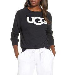 women's ugg fuzzy logo sweatshirt, size small - black