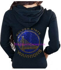 golden state warriors jersey bling rhinestone zipper hoodie sweater
