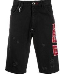 philipp plein studded logo distressed detail shorts - black