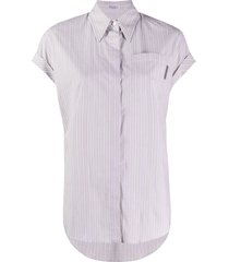 brunello cucinelli vertical-stripe cap-sleeve shirt - neutrals