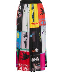 msgm graphic squares pleated skirt - black