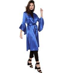 kimono azul rey en seda con manga acampanada elena urrutia