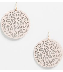 maurices womens blush faux leather cut out drop earrings pink