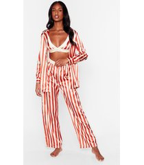womens stay stripe there 3-pc oversized pajama set - rust