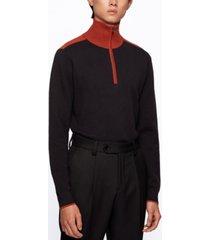 boss men's contrast-collar regular-fit sweater