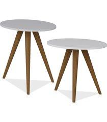 kit com mesa de canto e mesa lateral lyam decor retrã´ branco - branco - dafiti