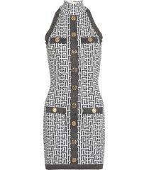 balmain monogram knitted dress