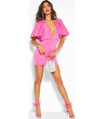 mouwloze mini jurk met pofmouwen, roze