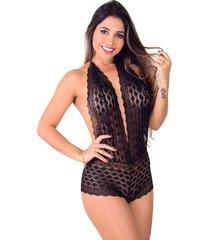 body de renda vip lingerie com caleçon e decote preto
