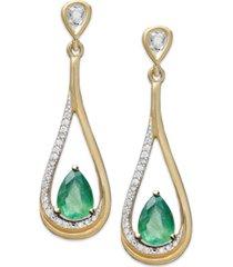 14k gold earrings, emerald (3/4 ct. t.w.) and diamond (1/10 ct. t.w.) pear-shaped drop earrings