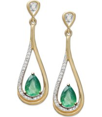 14k gold earrings, emerald (3/4 ct. t.w.) and diamond (1/10 ct. t.w.) pear-shaped drop earrings