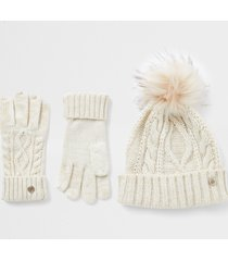 river island womens beige cable knit hat and gloves gift set