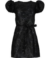 black lace scoop mini dress