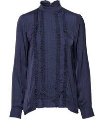 drilla blouse lange mouwen blauw six ames