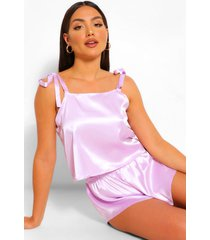 satin tie shoulder pyjama short set, lilac