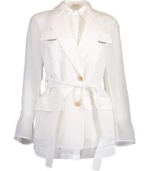 organza belted silk shirt
