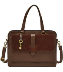 fossil women's kinley leather satchel