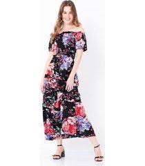 vestido largo estampado floral cintura ajustada