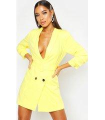 geweven getailleerde blazer jurk met ceintuur, geel