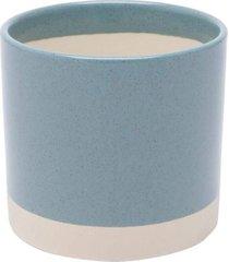 cachepot concreto white line azul