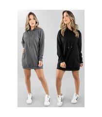 kit 2 vestido blusão vicbela manga longa camisão moletinho preto