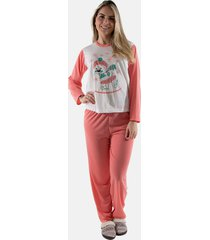 pijama longo ursinho salmã£o linha noite 140 - laranja - feminino - poliã©ster - dafiti