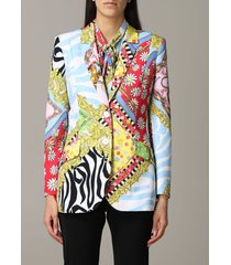 boutique moschino blazer boutique moschino cady jacket with mix of patterns