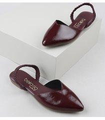 sapatilha de verniz feminina beira rio conforto aberta bico fino com elástico vinho