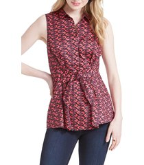 women's nic+zoe cocktail hour tie front blouse, size medium - red