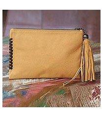 leather wristlet bag, 'cool caramel' (indonesia)
