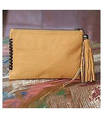 leather wristlet bag, 'cool caramel' (indonesia)
