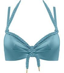 holi glamour push up bikini top   wired padded aqua blue - 32f