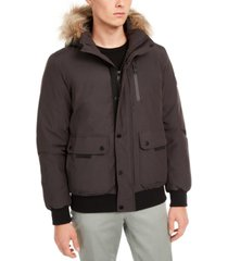 calvin klein men's bomber parka with faux fur hood