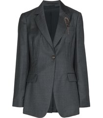 brunello cucinelli beaded-brooch blazer - grey