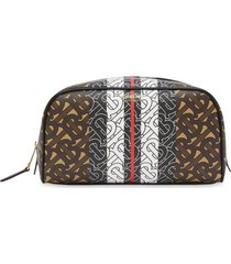 burberry monogram stripe travel pouch - brown