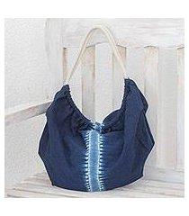 tie-dyed cotton hobo handbag, 'indigo vision' (el salvador)