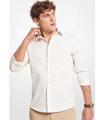mk camicia slim-fit in cotone stretch con stampa foglie - opale (bianco) - michael kors
