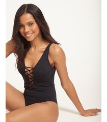 active lace up one-piece swimsuit