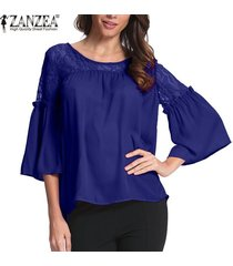 zanzea mujer lace up crochet evening party ladies tops blusa suelta camisa tallas grandes -azul