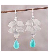 onyx dangle earrings, 'misty leaves' (india)