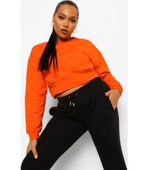 plus geribbelde korte sweater met korset detail, orange