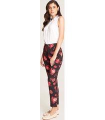 pantalón recto floral negro 10