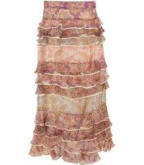 spliced jacobean lucky tiered skirt