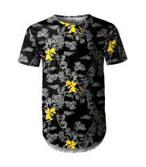 camiseta masculina longline swag jardim com pássaros